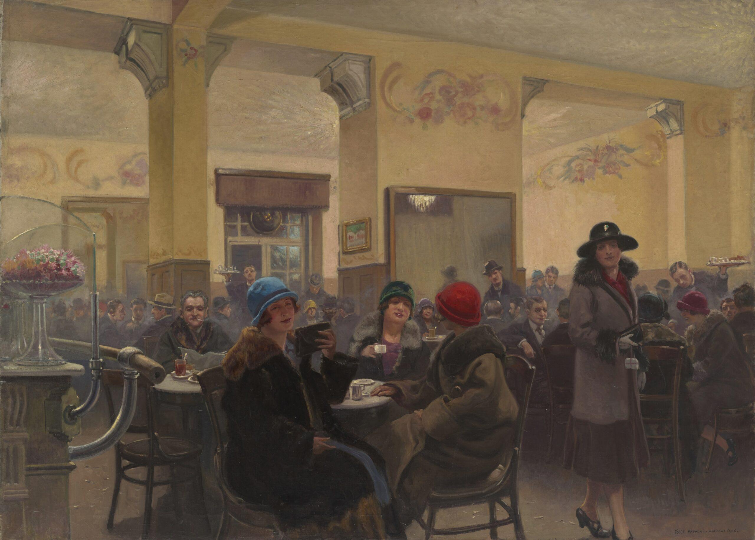gwarna kawiarnia, ludzie siędzący przy stolikach